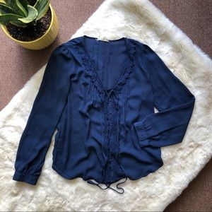 Tops - Navy Long-Sleeve Blouse